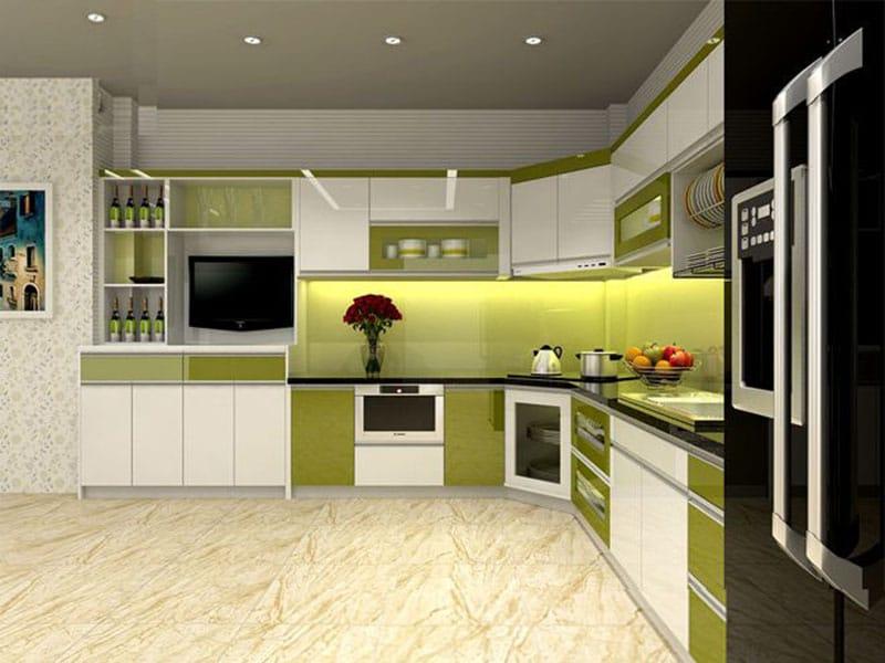 Kinh nghiệm làm tủ bếp cho ngôi nhà của bạn. Mẫu tủ bếp chữ L có màu xanh lá cây phù hợp với gia chủ mang mệnh mộc