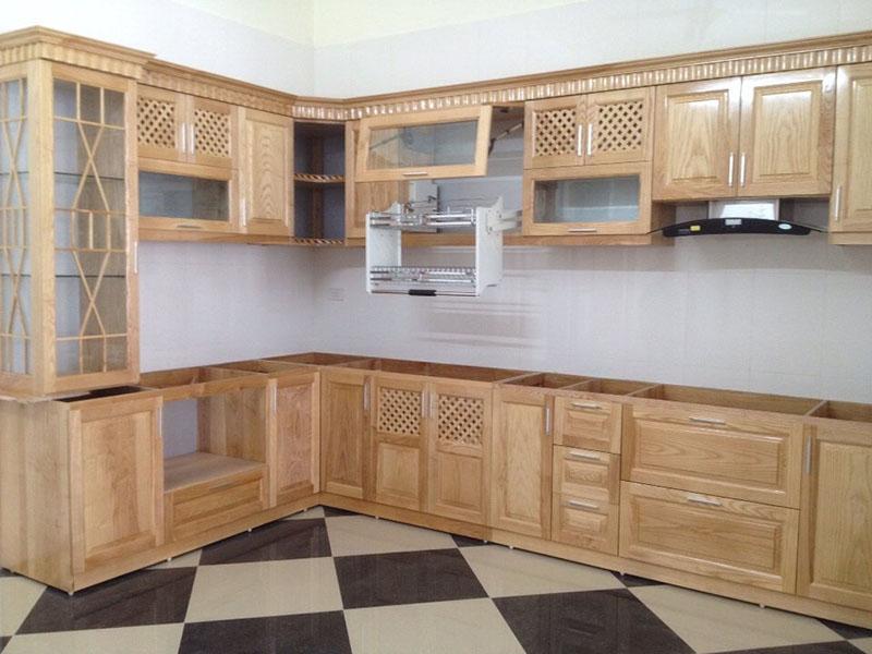 Tủ bếp sồi Nga đẹp chữ L, đơn giản và tinh tế