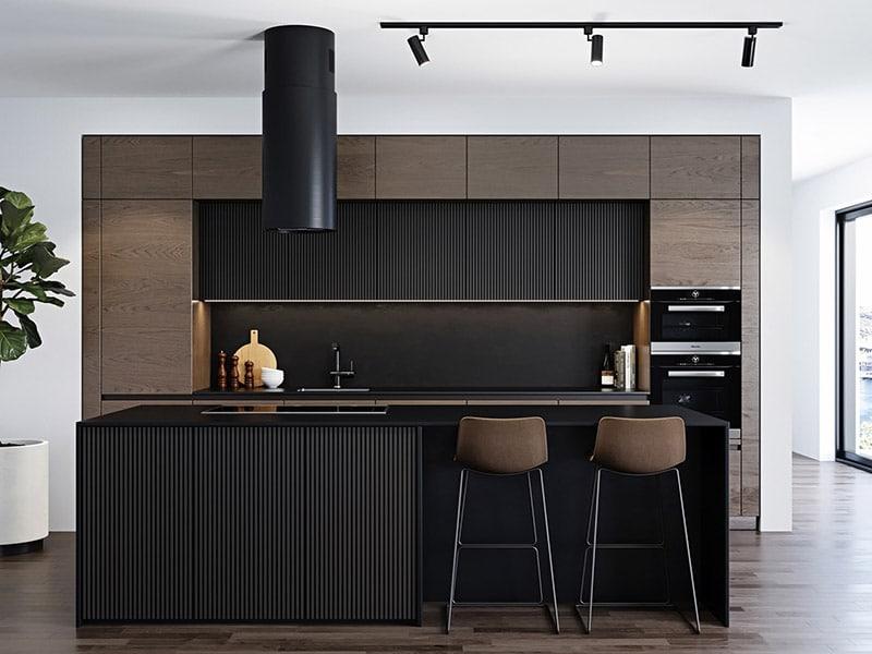 Tủ bếp MDF phủ melamine gam màu đen sang trọng, sạch sẽ , bắt mắt khi bước vào