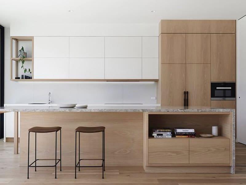 Tủ bếp MDF phủ melamine chữ I thích hợp với ngôi nhà có diện tích bếp nhỏ