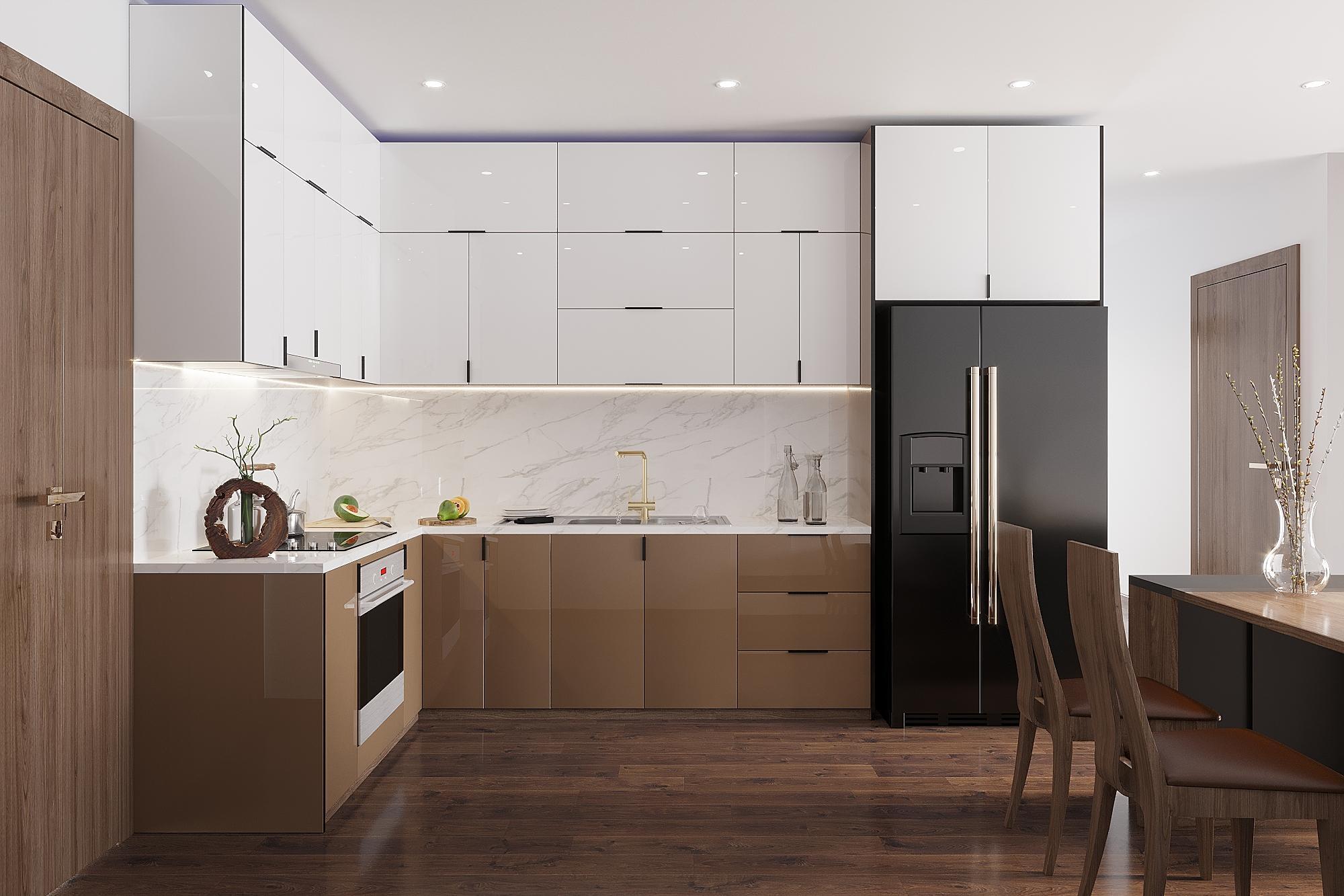 Tủ bếp MDF phủ melamine có gam màu nâu trắng khá bắt mắt, sang trọng và tinh tế