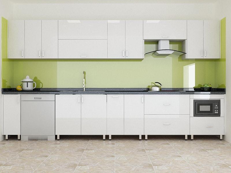 Mẫu tủ bếp inox mới nhất chữ I dành cho những không gian bếp nhỏ và vừa hoặc những hộ gia đình nhỏ, ít thành viên. Mẫu này có gam màu trắng xanh nhìn bắt mắt, sạch sẽ, bắt mắt khi bước vào căn bếp