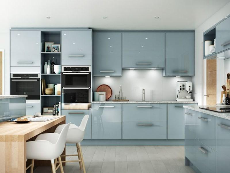 Mẫu tủ bếp inox mới nhất màu xanh ngọc tạo không gian tươi tắn và sang trọng cho không gian bếp của gia đình bạn