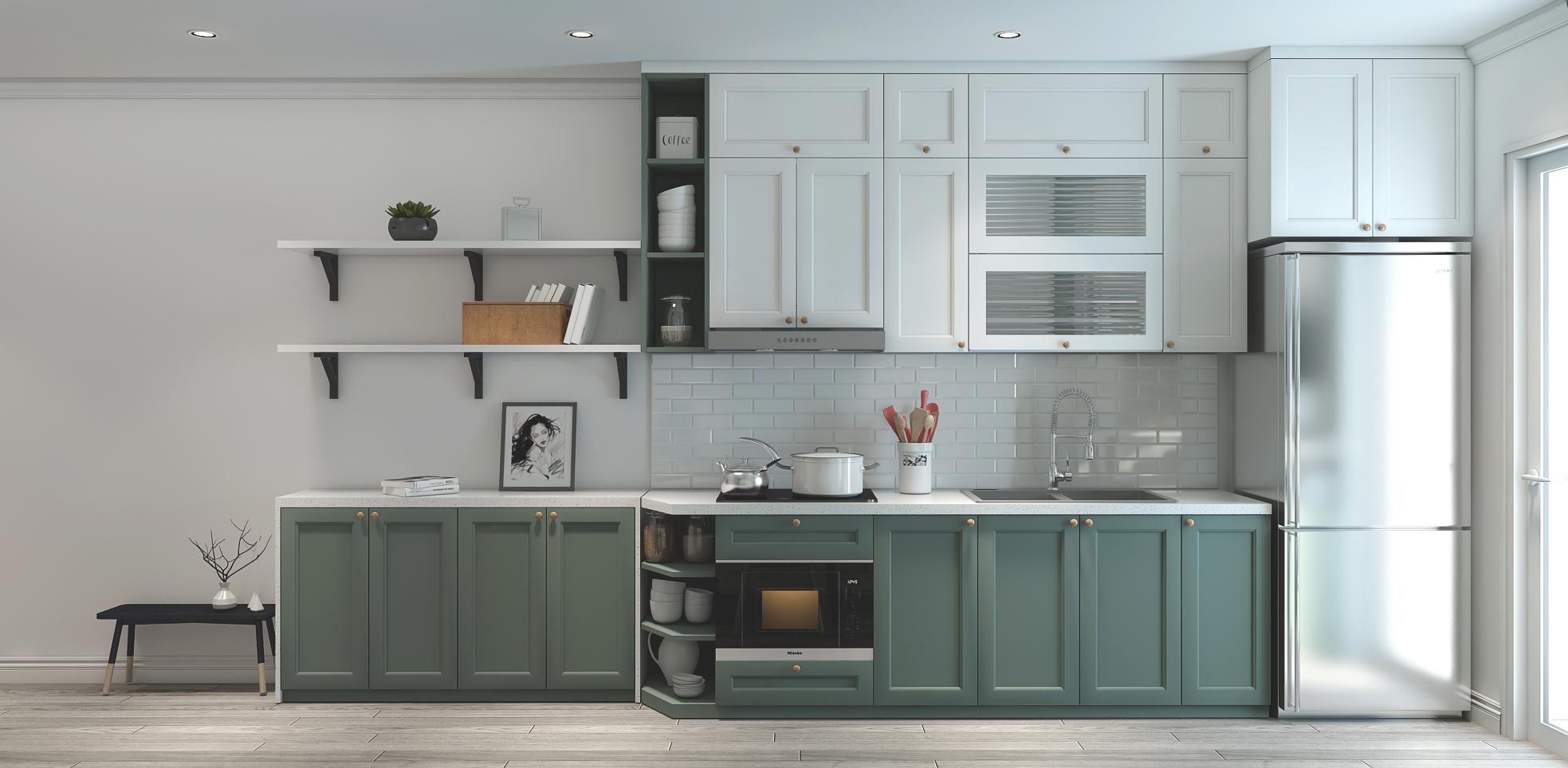 Kinh nghiệm làm tủ bếp cho ngôi nhà của bạn. Mẫu tủ bếp chữ I với gam màu xanh làm chủ đạo, một màu sắc tươi trẻ và sang trọng giúp cho không gian bếp trở gần gũi và ấm cúng hơn