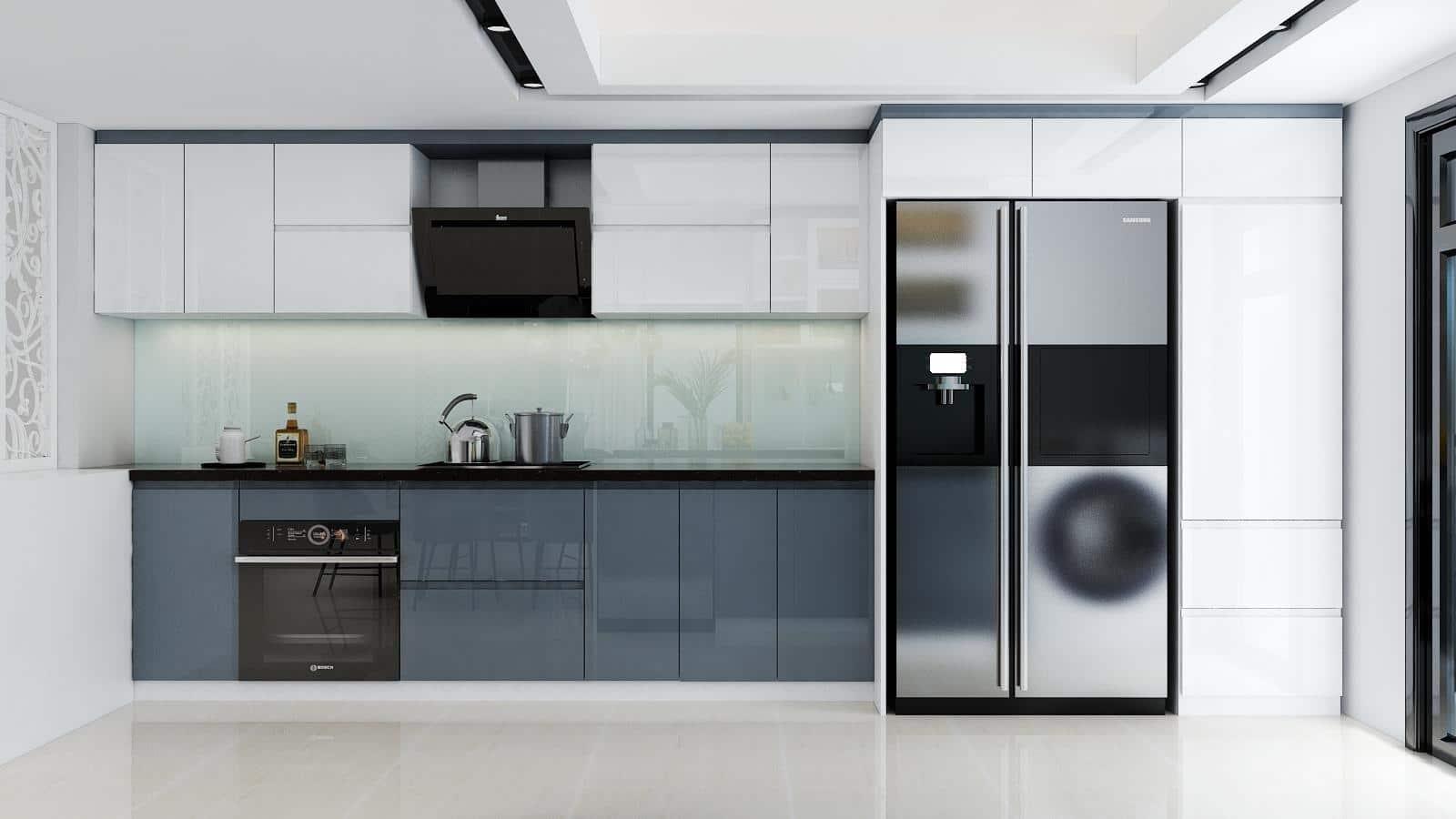 Tủ bếp gỗ đẹp chữ I, một mẫu thiết kế dành cho nhà có diện tích bếp nhỏ, vừa tiết kiệm không gian vừa sử dụng được tối đa công năng