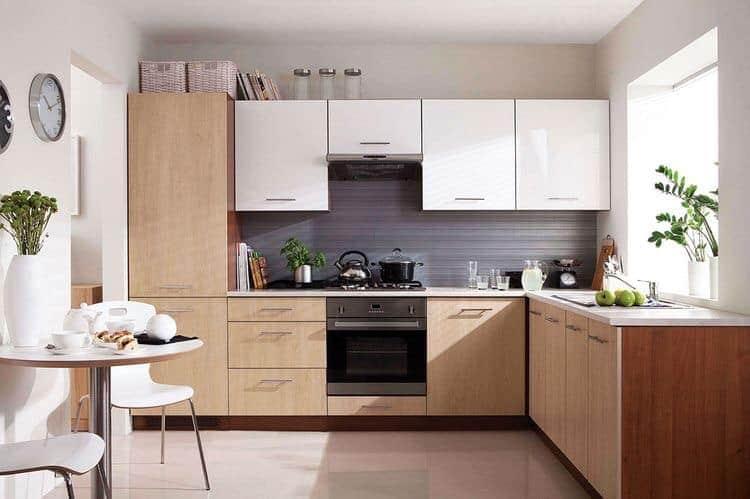 Tủ bếp gỗ đẹp chữ L dành cho nhà có không gian bếp vừa và nhỏ bởi mẫu tủ này tiết được được góc vuông của ngôi nhà