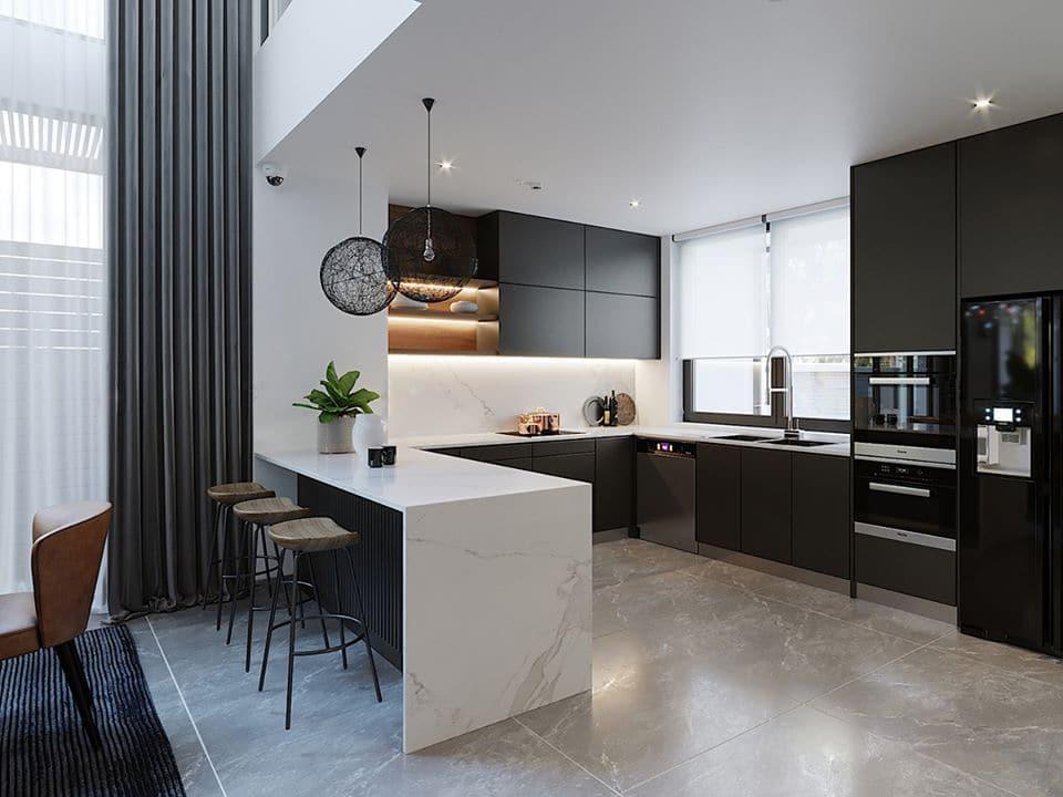 Tủ bếp gỗ đẹp mẫu chữ gam màu đen trắng sang trọng và tinh tế, mẫu này dùng cho nhà có không gian rộng